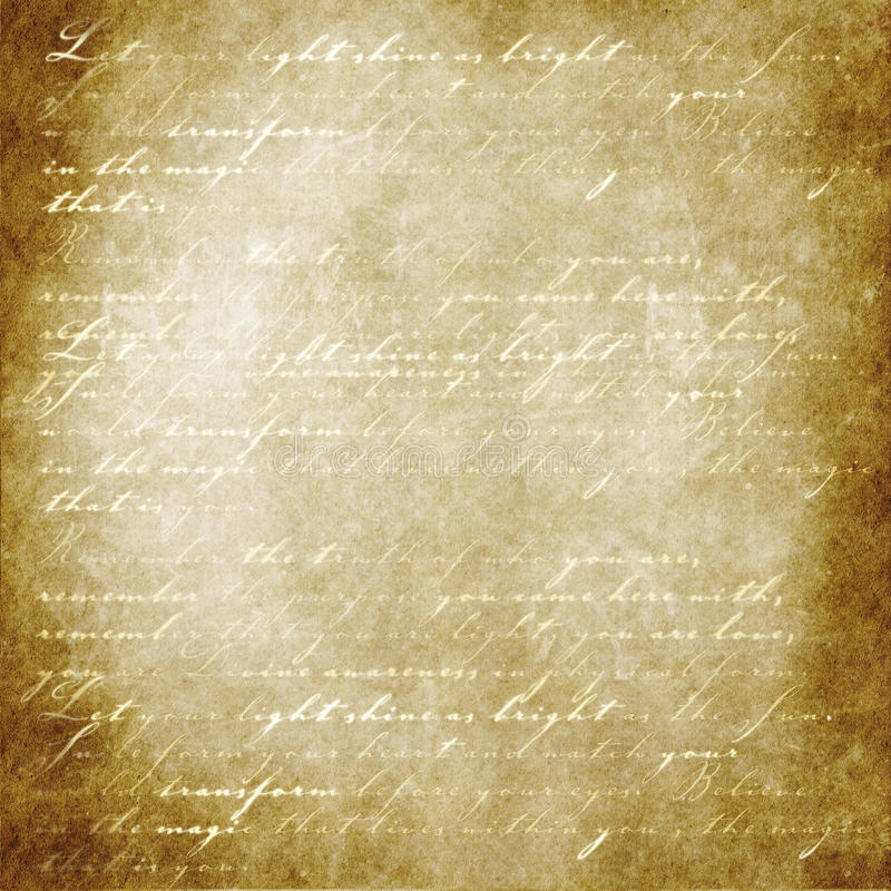 Words of light on parchment. Parchment paper with glowing script royalty free stock images