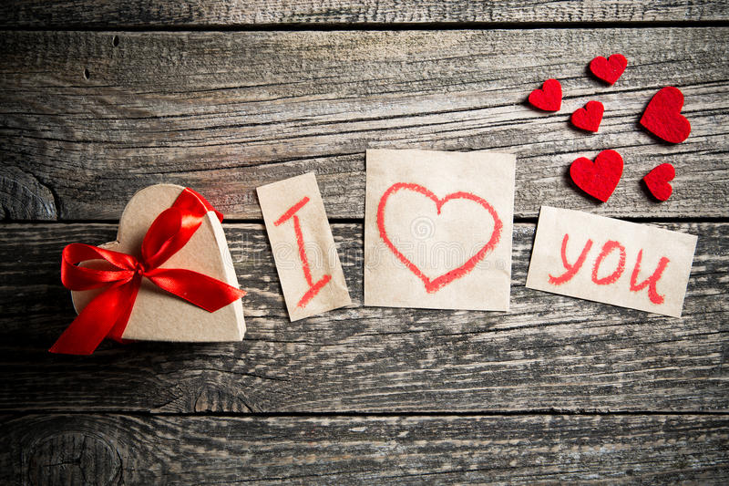 Download Words About Love And A Gift On Valentines Day Stock Image Image Of