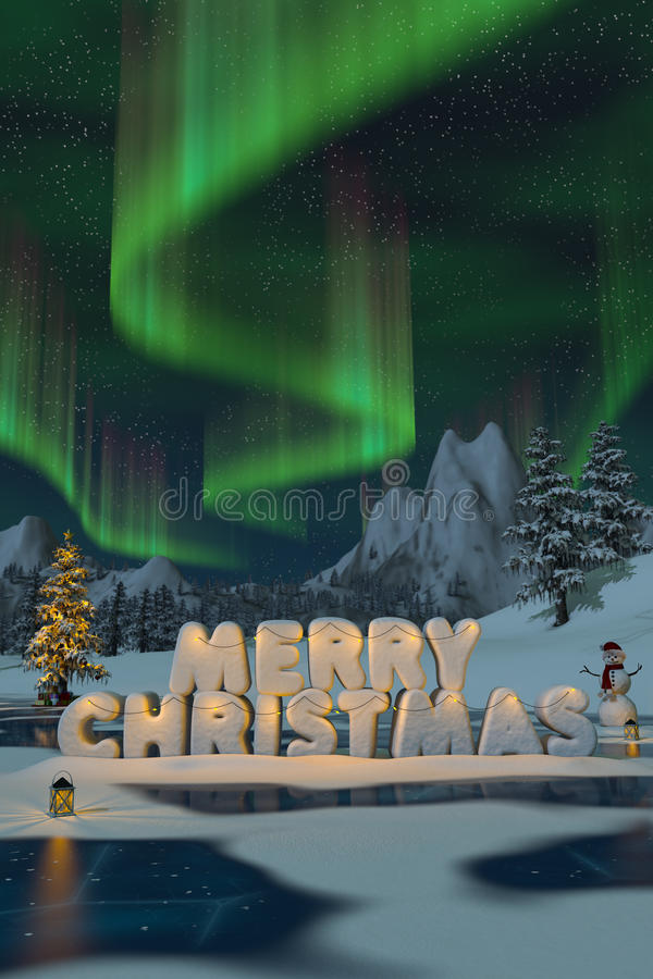 The words Merry Christmas sculpted in snow with auroras. The words Merry Christmas sculpted in snow under the northern lights in a mountain landscape. A 3d stock illustration
