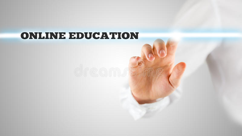 The words - Online Education - on a virtual interface stock image