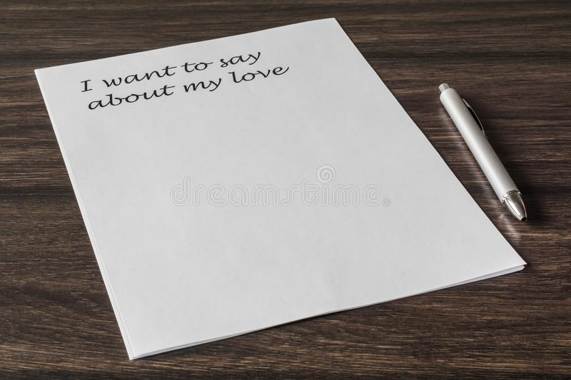 Letter to a loved one. Words, phrase, letter about great feelings for a loved one. Desire to express your emotions. Search for the main words stock photos