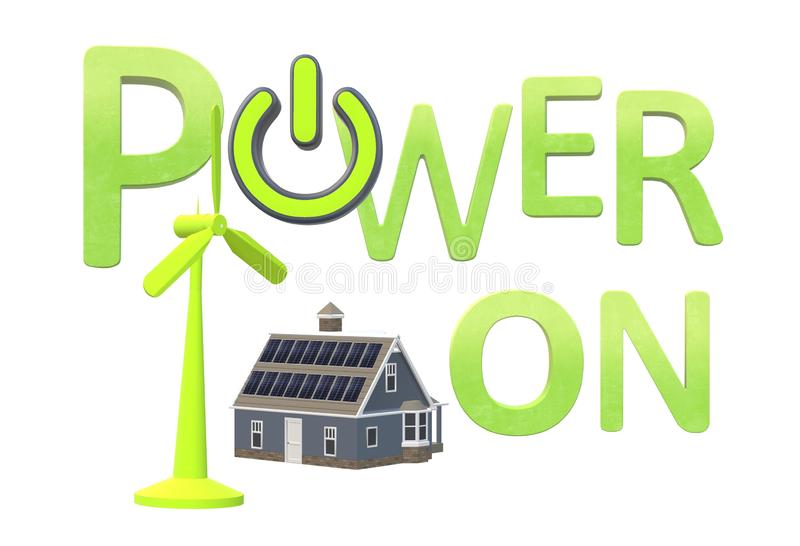 The words power on in green with renewable energy sources methods royalty free illustration