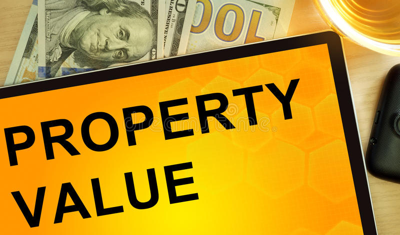 Words property value on tablet. stock photography