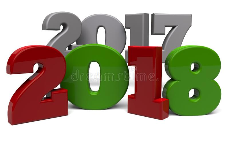 2018 New Year`s Eve. The words 2017 2018 rendered in 3D stock illustration