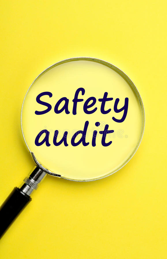 The words Safety audit. On yellow background stock image