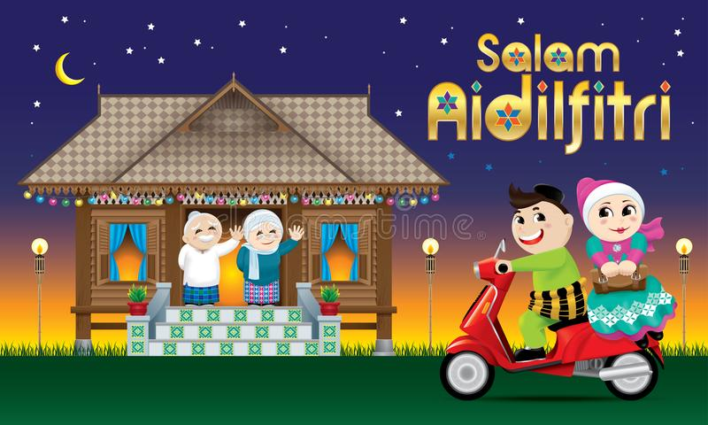 A couple is just arrive their home town, ready to celebrate Raya festival with their parents. With village scene. The words `Salam Aidilfitri` means happy Hari stock illustration