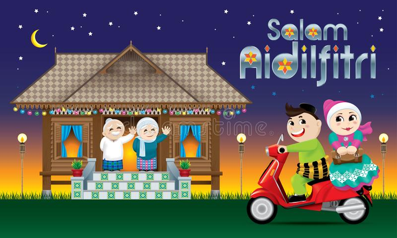 A couple is just arrive their home town, ready to celebrate Raya festival with their parents. With village scene. The words `Salam Aidilfitri` means happy Hari vector illustration