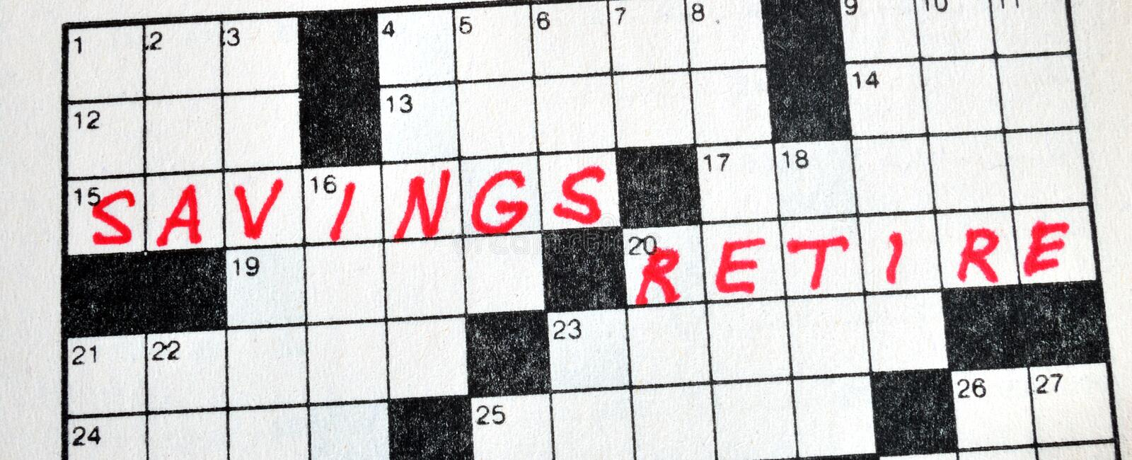 Download The Words Savings And Retire On Crossword Puzzle Stock Image - Image: 24488071