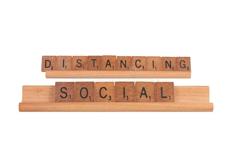 Social Distancing Words In Wooden Tiles, Isolated royalty free stock image