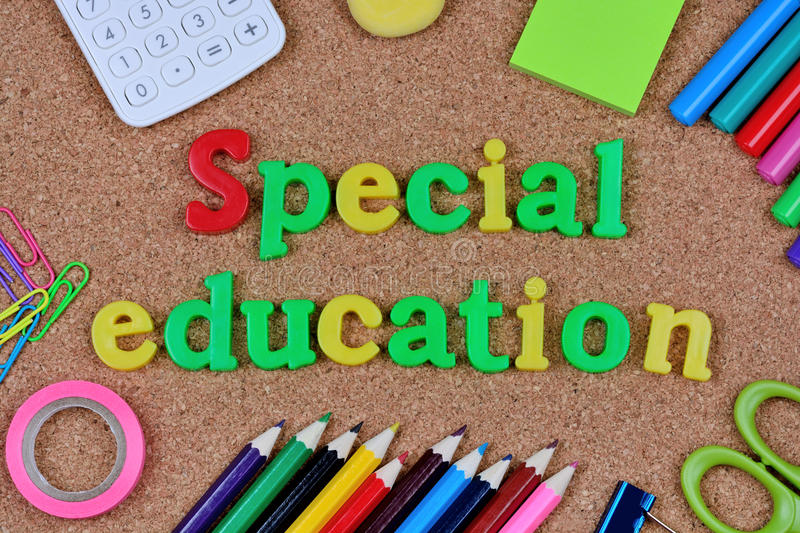 The words Special Education on cork background. Closeup royalty free stock photos