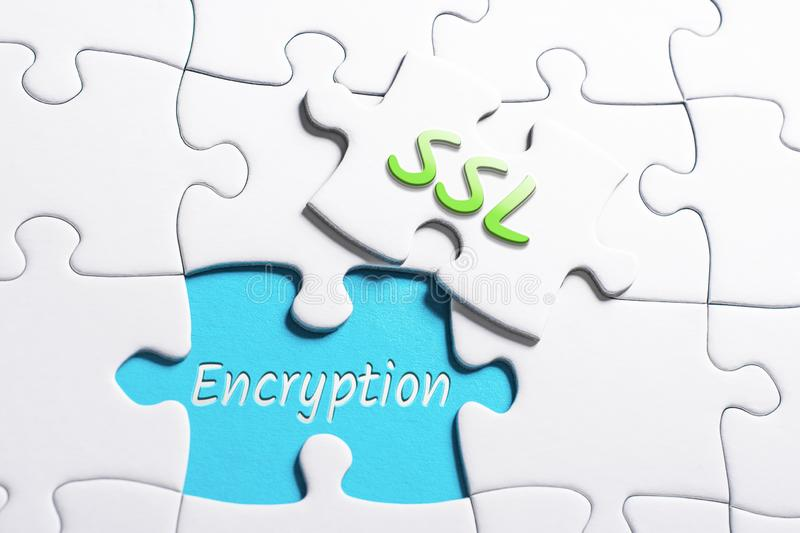The Words SSL And Encryption In Missing Piece Jigsaw Puzzle. The Words SSL And Encryption In A Missing Piece Jigsaw Puzzle stock photography