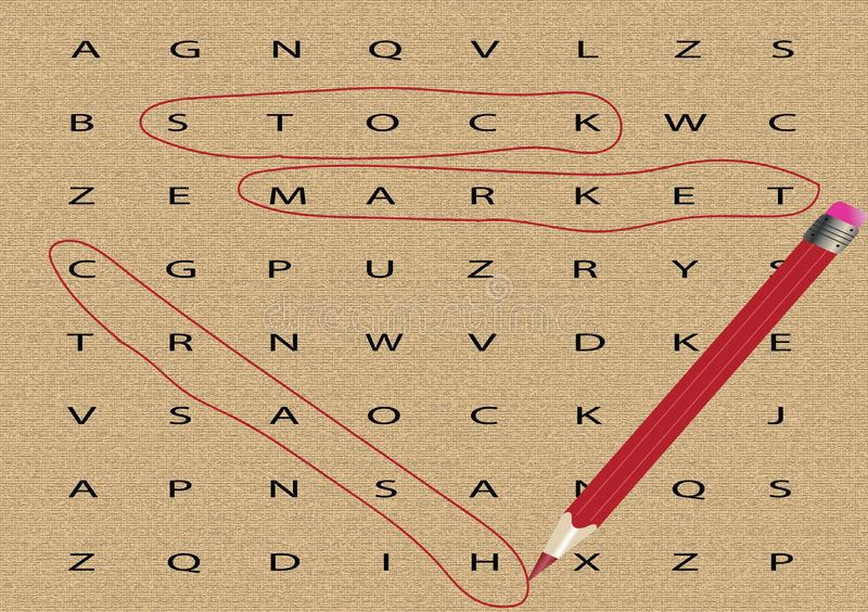 Stock Market Crash. The words STOCK, MARKET and CRASH, circled by a red pencil vector illustration