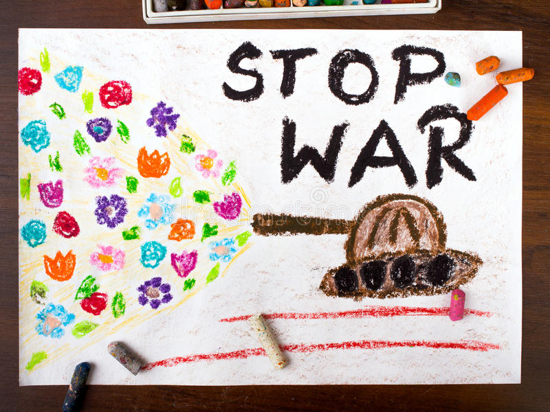 Words stop war. Colorful drawing with the words stop war stock image