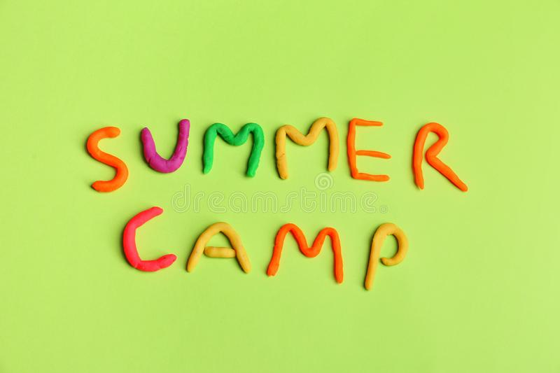 Words SUMMER CAMP made from modelling clay stock photo