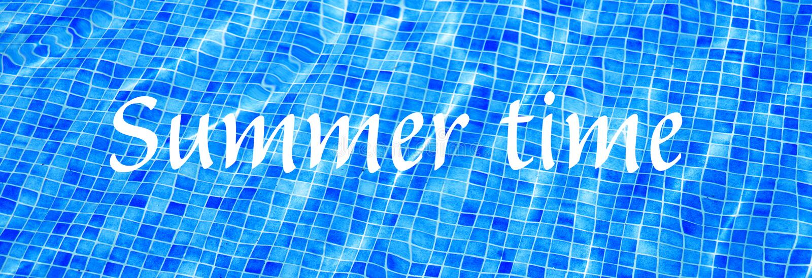 Words Summer Time on blue ripped water background Swimming pool Summer vacation Banner stock images