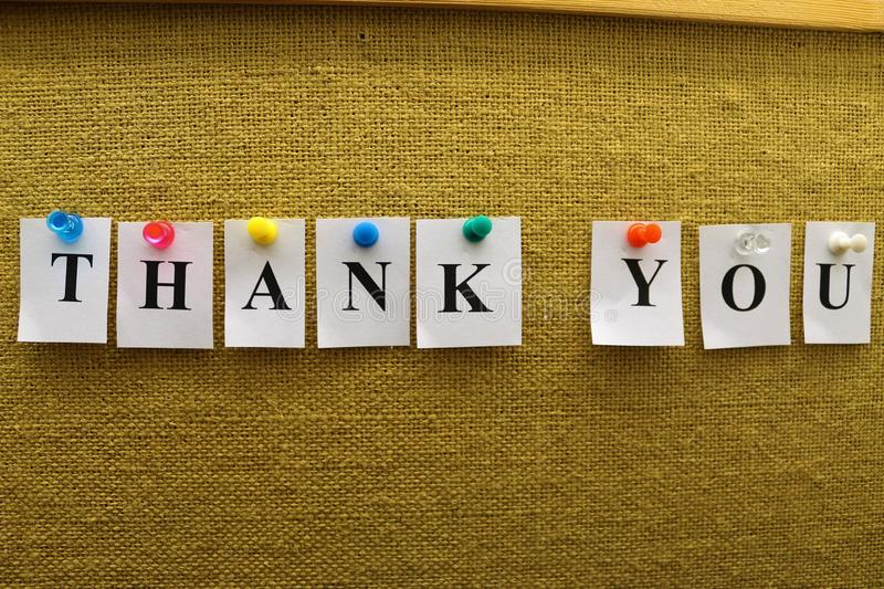 The words thank you pinned. stock photo