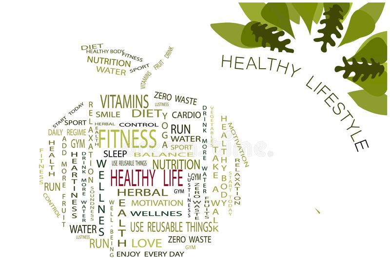 Words on the theme of a healthy lifestyle inscribed in an apple on a white background. Oak leaves. Illustration. vector illustration