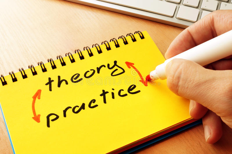 Words theory and practice. royalty free stock photos