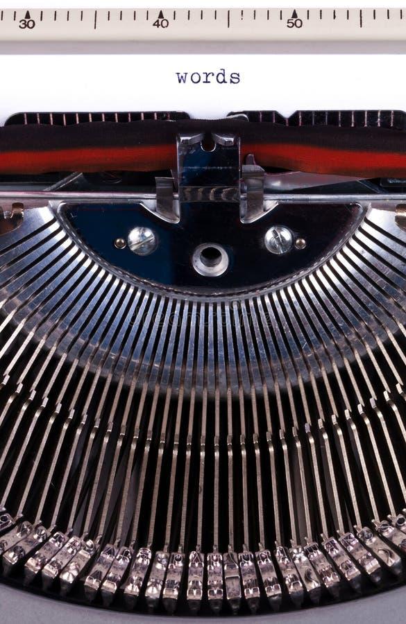 Words on typewriter. Words written on an old typewriter royalty free stock image