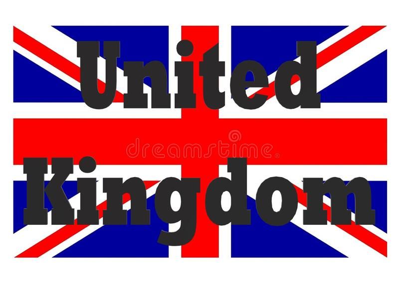 The words united Kingdom with the flag of UK in the white backdrop stock image