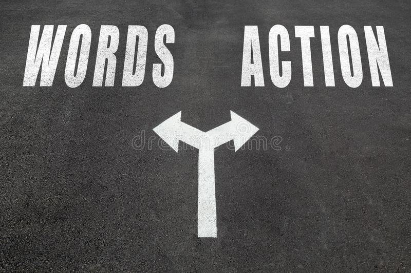 Words vs action choice concept royalty free stock photography