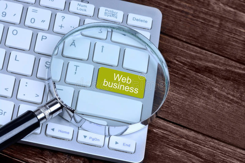 The words Web business on keyboard button stock images
