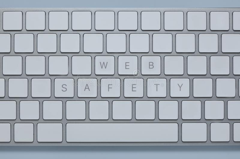 Words web safety on the computer keyboard with others keys deleted. Words web safety on the computer keyboard and others keys deleted stock image