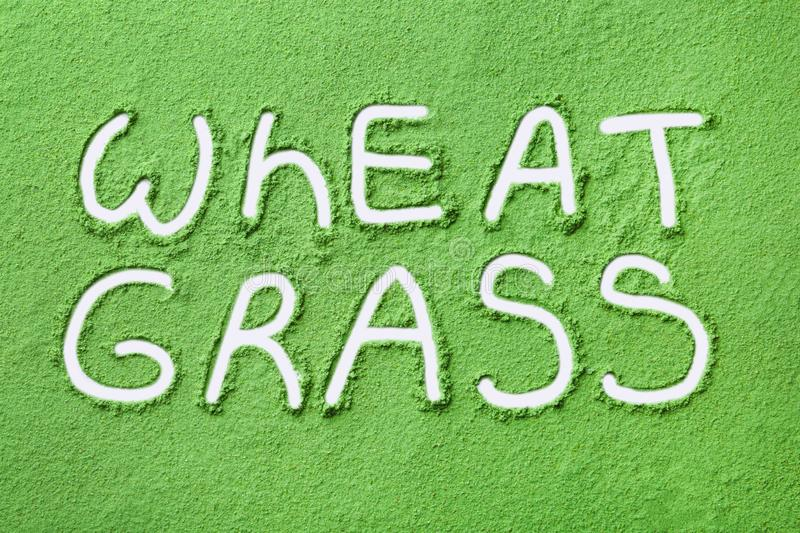Words WHEAT GRASS written on powder. Top view stock image