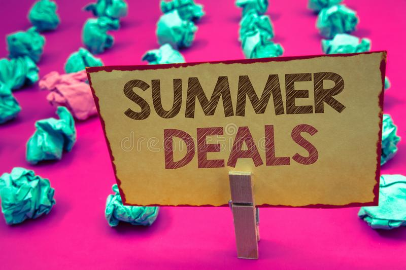 Word writing text Summer Deals. Business concept for Special Sales Offers for Vacation Holiday Trips Price Discounts. Words writing textss Summer Deals. Business royalty free stock images