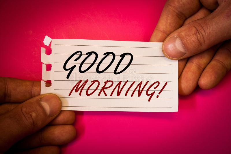 Word writing text Good Morning Motivational Call. Business concept for Greeting Wishes for a great day Inspirational. Wordss writing textss Good Morning royalty free stock image