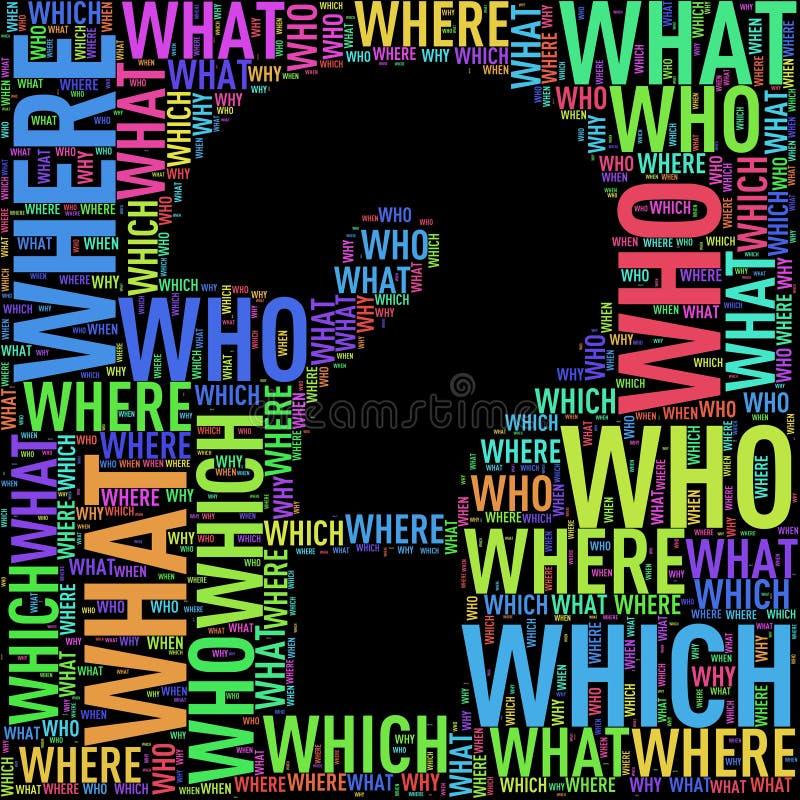 Wordtags wordcloud формы вопросительного знака иллюстрация вектора