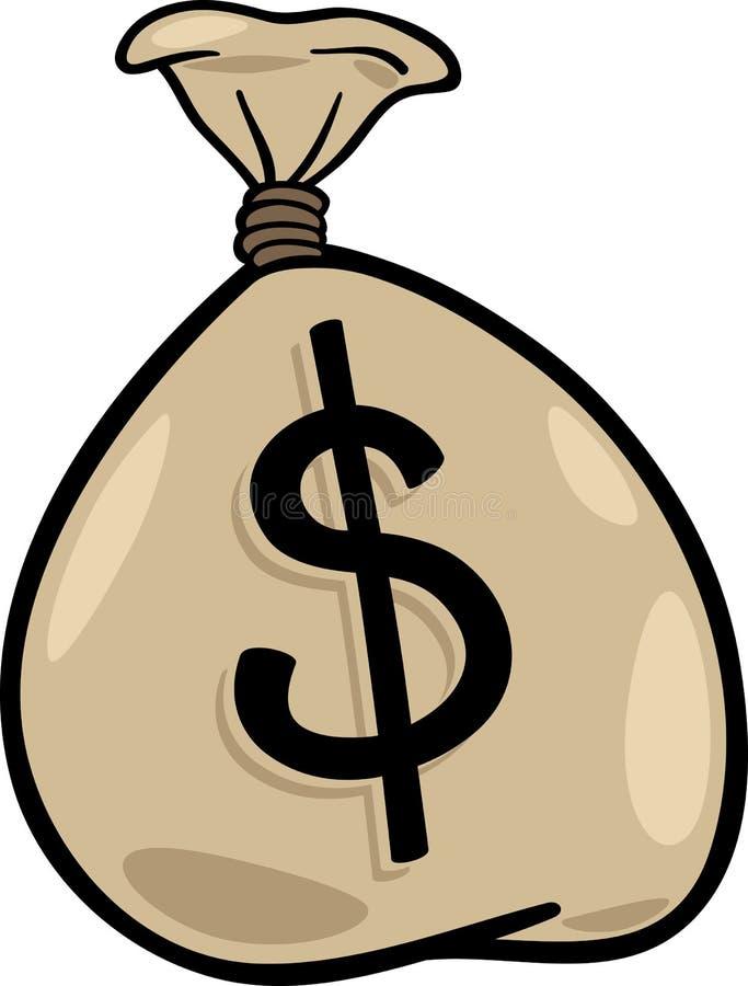 Worek dolar klamerki sztuki kreskówki ilustracja ilustracji