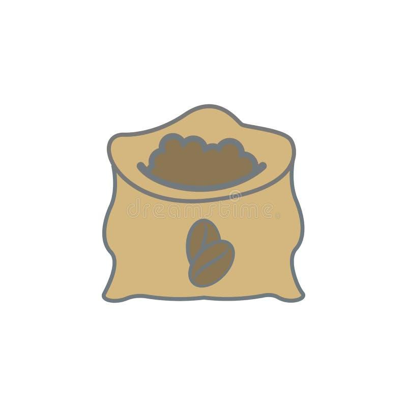 worek kawowych fasoli barwiona ikona Element barwiona kawowa ikona dla mobilnych pojęcia i sieci apps Koloru worek kawowych fasol ilustracji