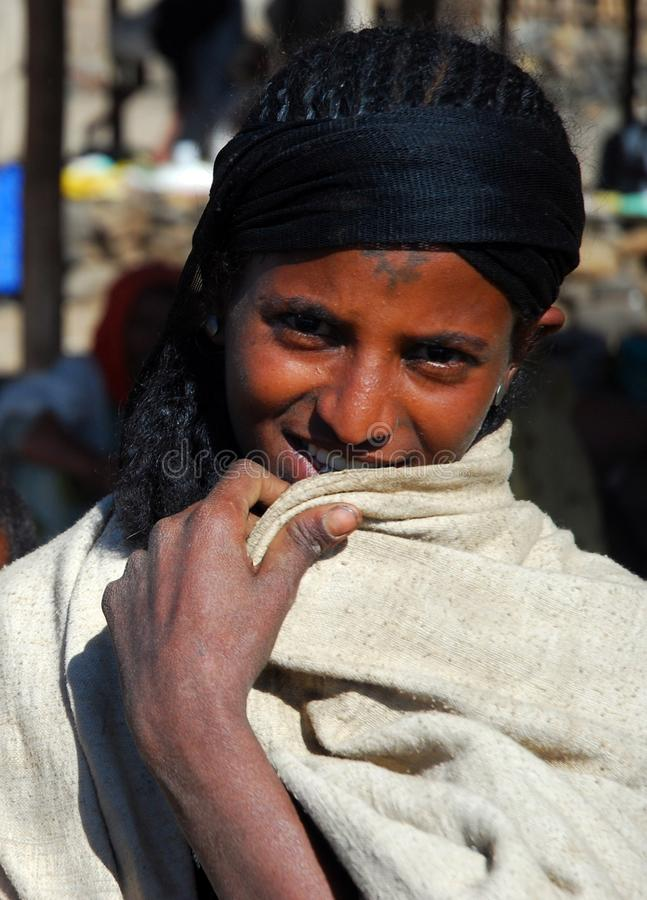 Woreta,阿姆哈拉,埃塞俄比亚, 2007年12月8日:埃赛俄比亚的妇女 库存图片