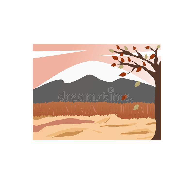 Autumn Mountain top with snow leaves falling tree brown land. Pink or orange sky with corn field. in autumn season royalty free illustration