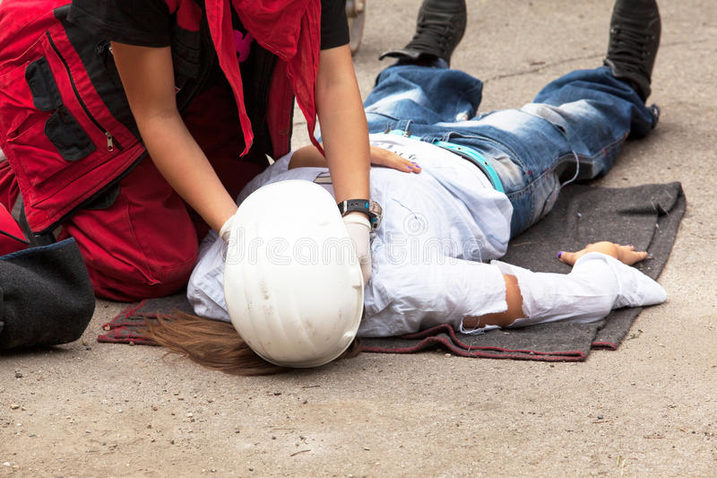 Work accident. First aid training. royalty free stock photo