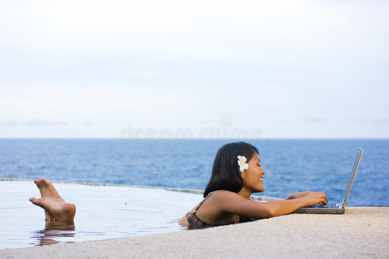 Work anywhere in paradise stock photo