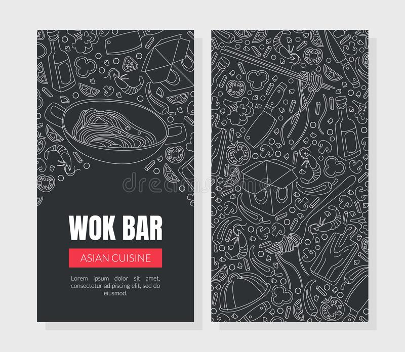Work Bar Asian Cuisine Card, Flyer Template, Menü, Café, Restaurant, Bar oder Food Festival Handgezeichnete Vector Illustration stock abbildung
