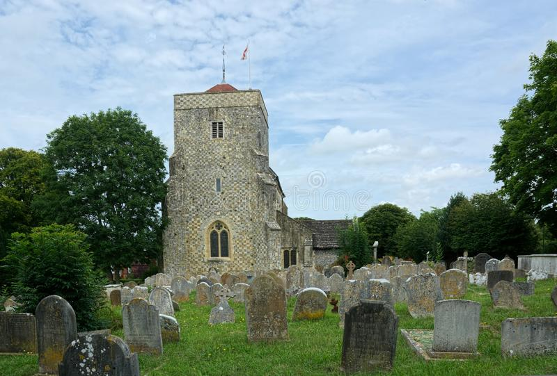 St Andrew & St Cuthman Church, Steyning, Sussex. Work began on a church at Steyning in 1080. Steyning was a major town in early Sussex  and it was an equally royalty free stock images