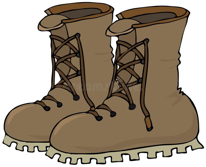 Work Boots. This illustration depicts a pair of brown work boots royalty free illustration