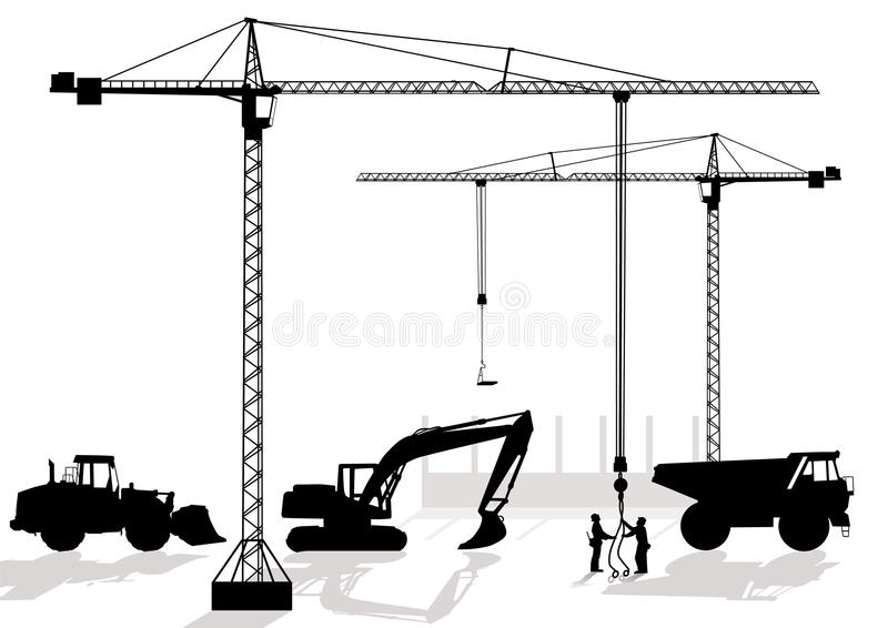 Of work at building site. Construction objects vector illustration