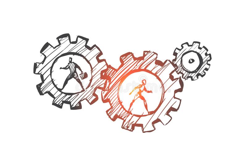 Work, business, automation, HCI, technology concept. Hand drawn isolated vector. Work, business, automation, HCI, technology concept. Hand drawn human and robot stock illustration