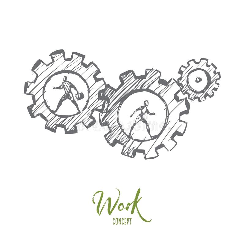 Work, business, automation, HCI, technology concept. Hand drawn isolated vector. Work, business, automation, HCI, technology concept. Hand drawn human and robot vector illustration
