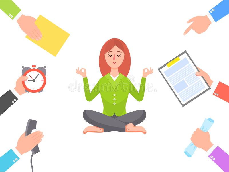 Work Circle and Meditating Young Woman Poster royalty free illustration