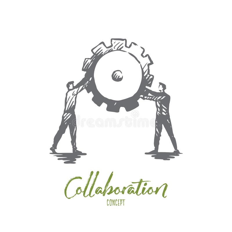 Work, collaboration, teamwork, support, cooperation concept. Hand drawn isolated vector. Work, collaboration, teamwork, support, cooperation concept. Hand drawn vector illustration