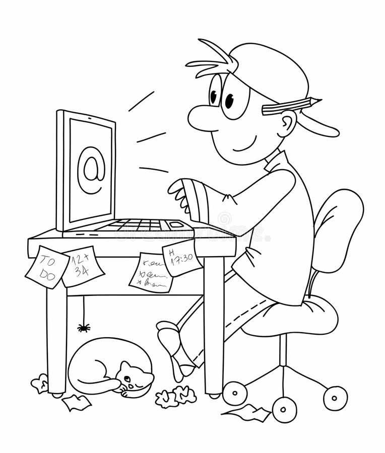 Work on computer. Young man at the computer. Black and white illustration stock illustration
