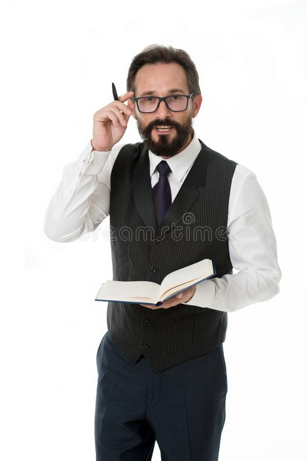 Work concept. Bearded man in glasses focus on paper work. Businessman have busy day at work. Hard work ensures success stock images