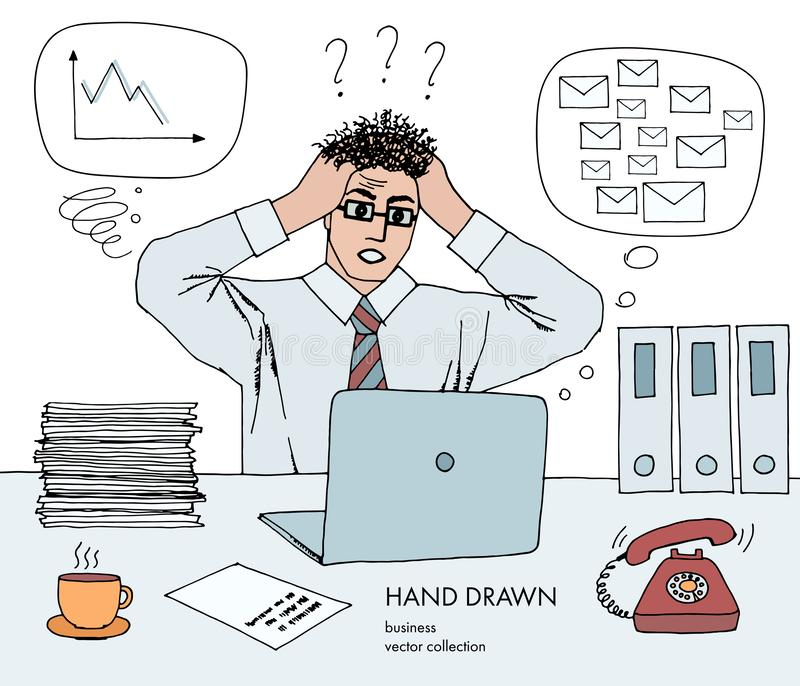 Work crisis. Businessman holds his head looking at the monitor. Hair stand on end. A lot of inbox mails, bad schedule stock illustration
