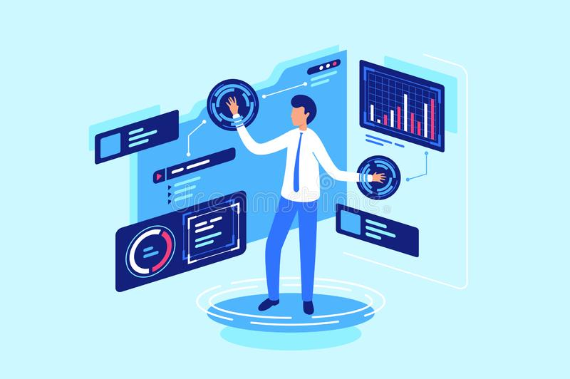 Work with data in cloud, online and folder, database. stock illustration