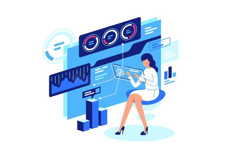Work with data, data managment. royalty free illustration